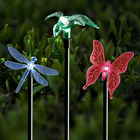 Solar stake lights outdoor garden voona 3 pack color chaning led solar stake lights outdoor garden voona 3 pack color chaning led lights with clear butterfly mozeypictures Choice Image