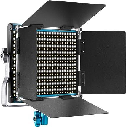 Todo para el streamer: Neewer–Metal Bicolor LED de vídeo luz Metal Marco Dimmbare 660Perlas con Soporte de U y Bar Door 3200–5600K CRI 96+ para Studio Youtube del fotografía grabación de vídeo (Azul)