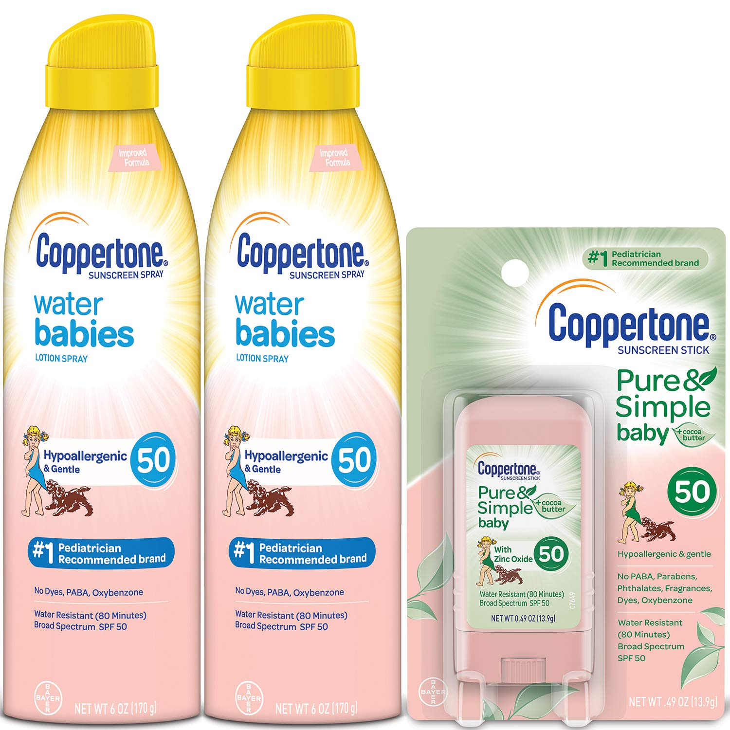 Coppertone WaterBabies Pure & Simple Mineral Based Lotion, Sunscreen Spray (2 Count) and Suncreen Stick, 1 Set by Coppertone