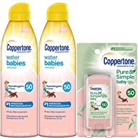 Coppertone WaterBabies SPF 50 Lotion Spray + Pure & Simple Baby Mineral SPF 50 Stick...