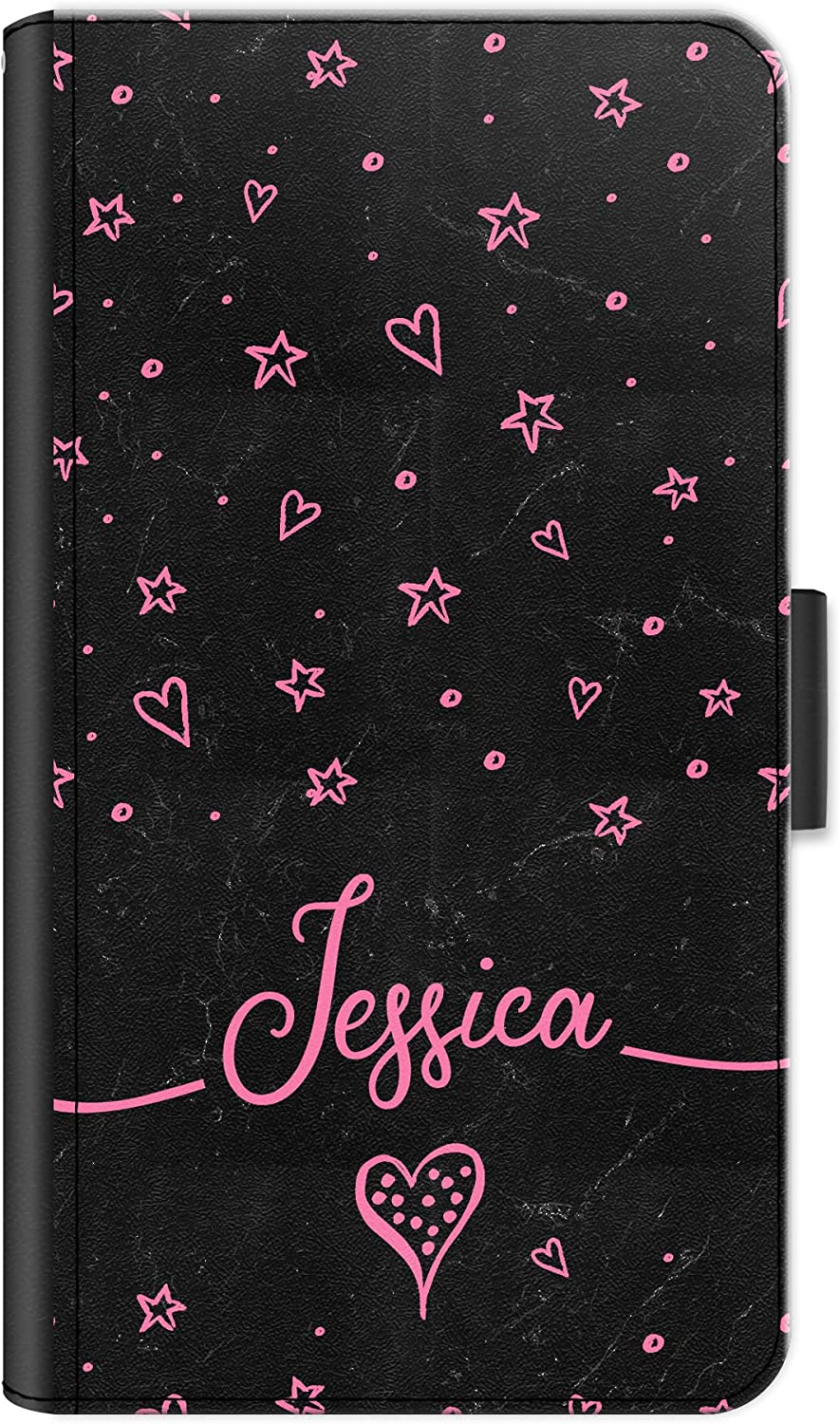 Hairyworm Personalised Initial Phone Case for Lenovo Vibe K4 Note (2016), Leather Phone Case with Pink Name, Stars, Hearts, Black Marble Print, Side Flip Wallet Phone Cover