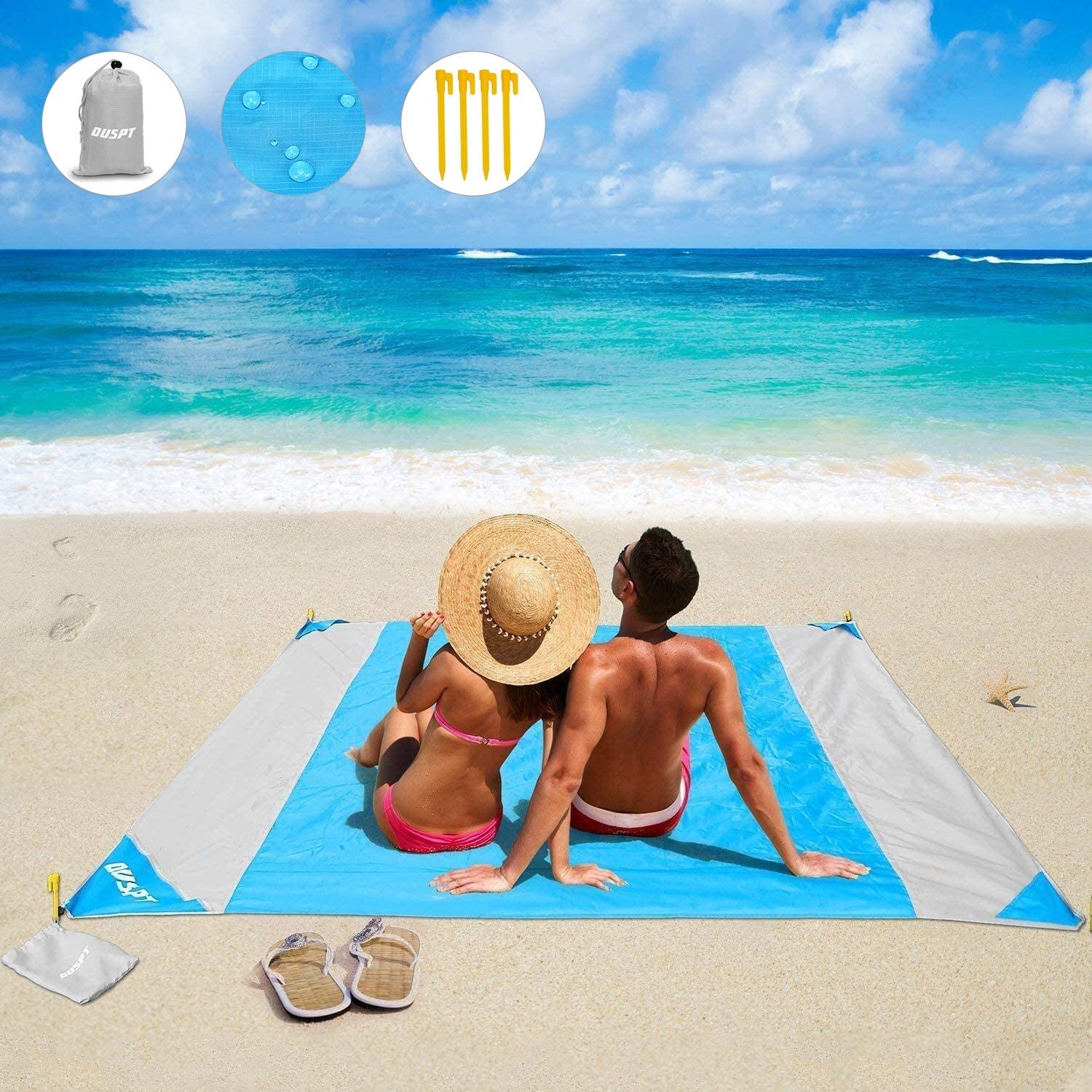 Beach Blanket Beach Mat Outdoor Picnic Blanket Large Sand Free Compact for 4-7 Persons Water Proof And Quick Drying Beach Mat Mady by Premium Nylon Pocket Picnic Sheet For Outdoor Travel 78 X 81
