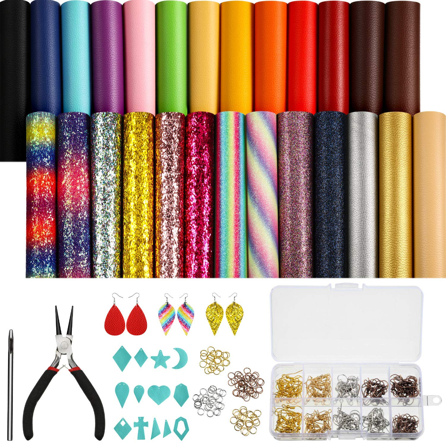 26 Pieces Bright Faux Leather Sheets 6 x 6 Inch, 140 Pieces Earring Hooks, 140 Pieces Jump Rings, 13 Pieces Various Shapes Molds for Earring Making Crafts, Plier and Hole Puncher by Blulu