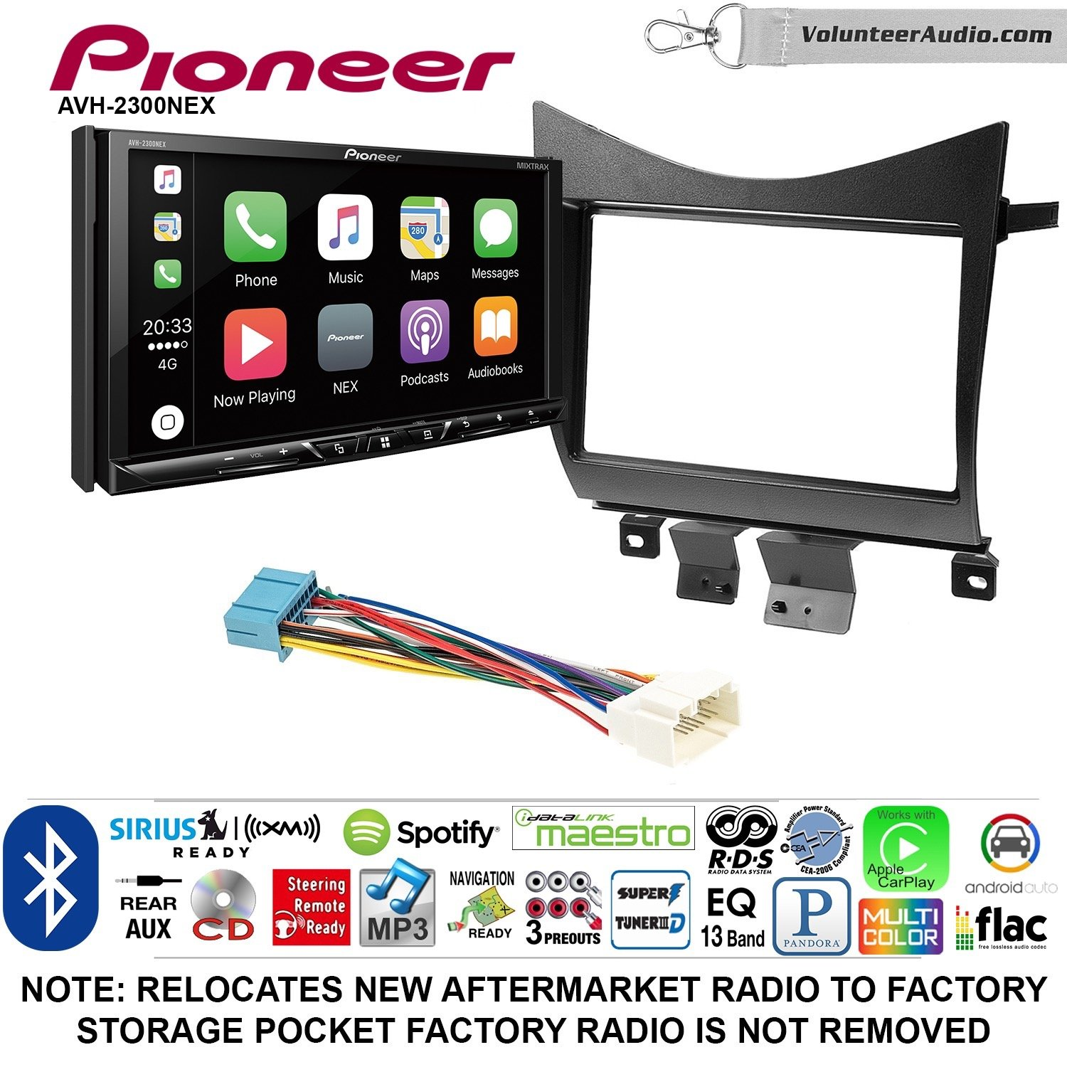Pioneer AVH-2300NEX Double Din Radio Install Kit with Apple CarPlay Android Auto Bluetooth Fits 2003-2007 Accord