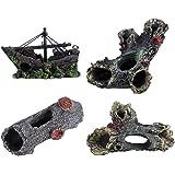 Ornamento de acuario ,Ornamento de madera de resina ,artificial Castillo de puente de barco