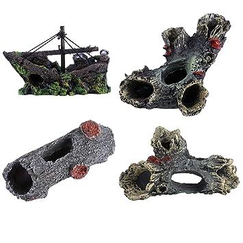 ... de madera de resina ,artificial Castillo de puente de barco para el tanque de pescado de acuario ,Decoraciones de paisajismo: Amazon.es: Jardín
