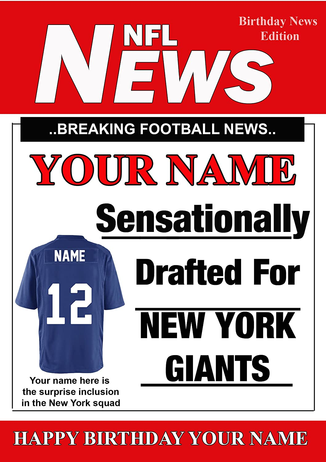 A5 Personalised New York Giants NFL American Football Birthday Card Any Name And Age PIDOA1 Amazoncouk Toys Games