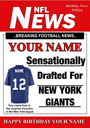 A5 Personalised New York Giants Nfl American Football Birthday Card