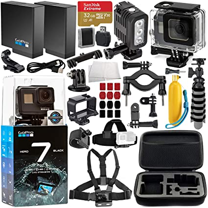 GoPro HERO7 Black Deluxe Bundle Includes: SanDisk Extreme 32GB microSDXC Memory Card + Replacement Battery + Underwater Housing & LED Light + Carrying ...