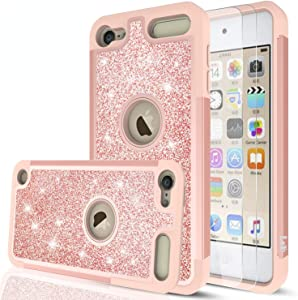 iPod Touch 7 Case, iPod Touch 6 Case, iPod Touch 5 Case with Tempered Glass Screen Protector [2 Pack] for Girls Women,LeYi Glitter Bling Phone Case for iPod Touch 7th/ 6th/ 5th Generation TP Rose Gold