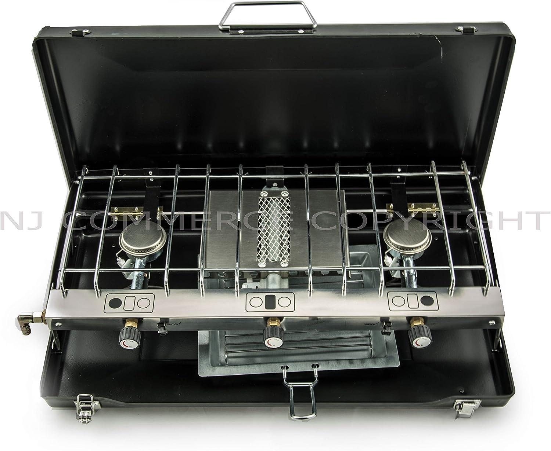 NJ FS-430 Pieghevole Campeggio Gas Stufa Grill 3 Bruciatori Portatile Carry Case Outdoor