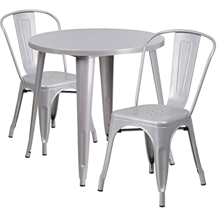 Amazoncom Flash Furniture Round Silver Metal IndoorOutdoor - Metal cafe table and chairs