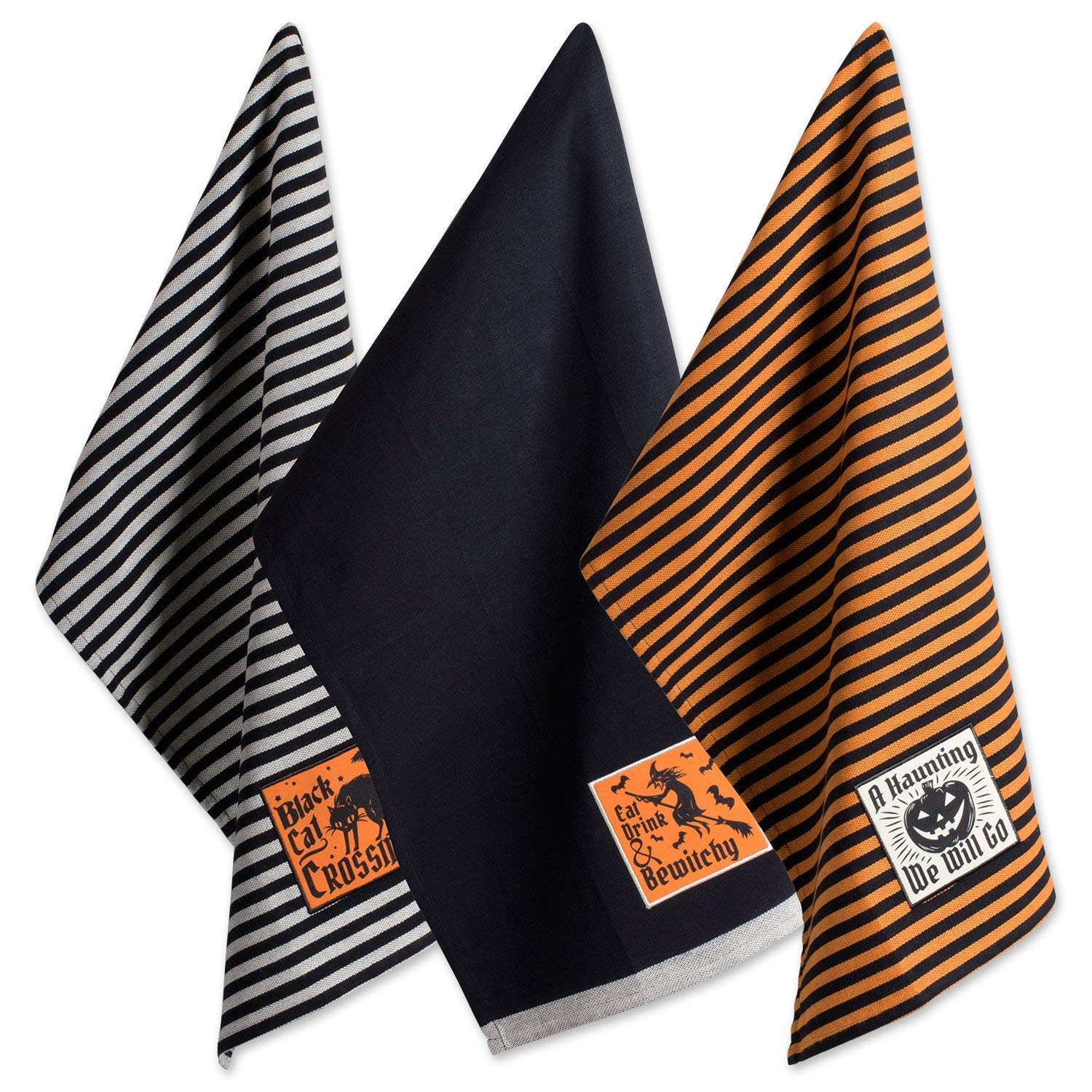 "DII Cotton Halloween Holiday Dish Towels, 18x28"" Set of 3, Decorative Oversized Embellished Kitchen Towels, Perfect Home and Kitchen Gift-Happy Haunting"