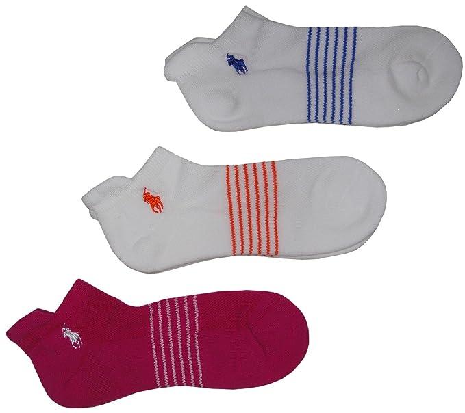 Ralph Lauren calcetines para mujer rosa y blanco multicolor (Pack de 3)
