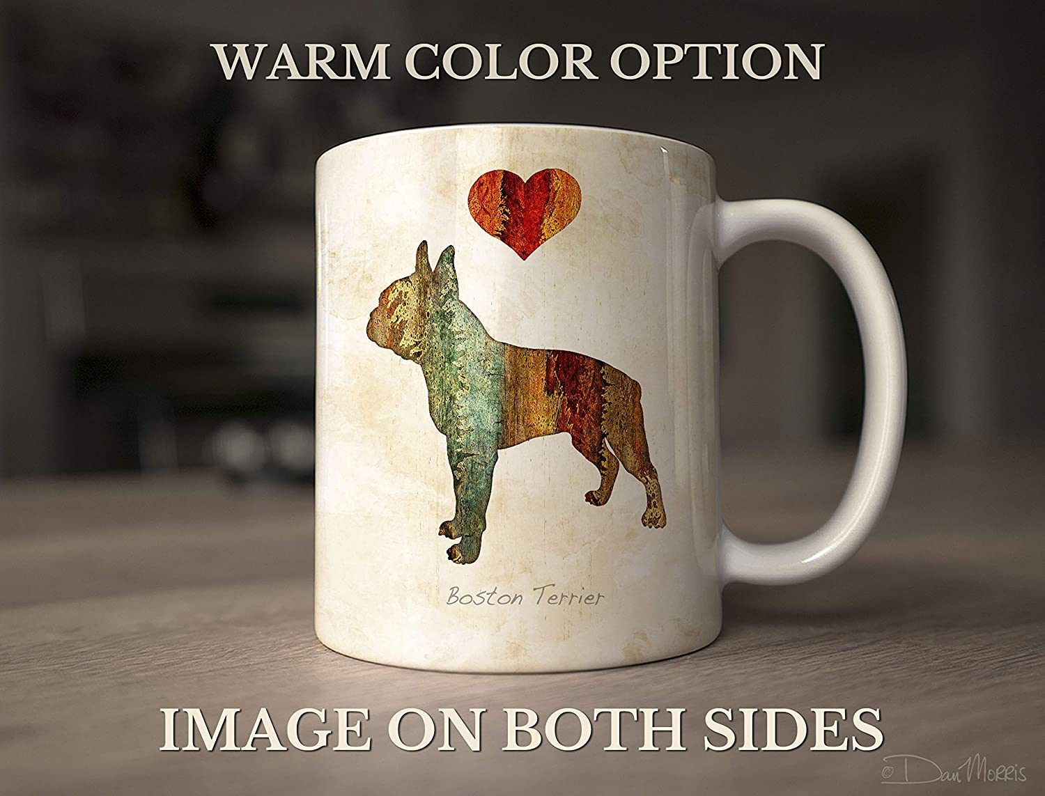 Boston Terrier Dog Breed Mug by Dan Morris Personalize with Dog Name