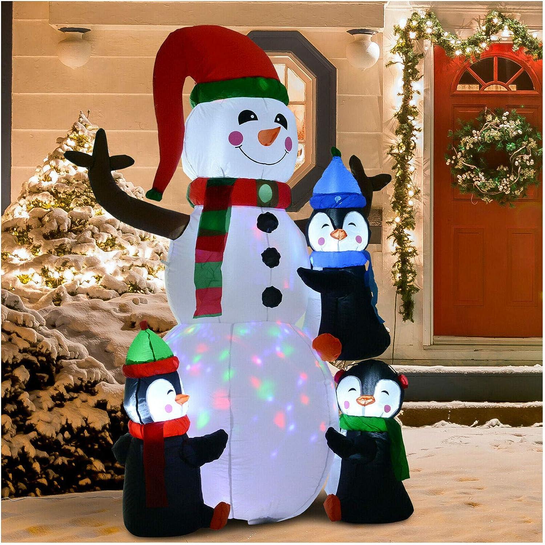 6 Light Up Inflatable Snowman Airblown Penguin Christmas Lawn Decoration