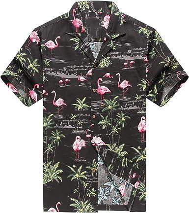 Hecho en Hawaii Camisa Hawaiana de los Hombres Camisa Hawaiana Flamencos Rosados Allover en Negro: Amazon.es: Ropa y accesorios