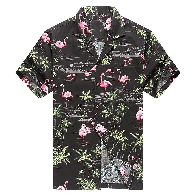 6384926e Made in Hawaii Men's Hawaiian Shirt Aloha Shirt S Pink Flamingos Allover in  Black