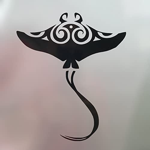 Tribal Manta Ray Vinyl Decal - Beach Bumper Sticker, for Laptops or Car Windows -