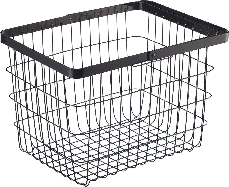 YAMAZAKI home Laundry Basket Medium Storage Hamper, Black