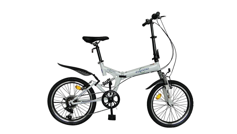 ECOSMO 20SF02W - Bicicleta plegable (suspensión, 6 velocidades): Amazon.es: Deportes y aire libre