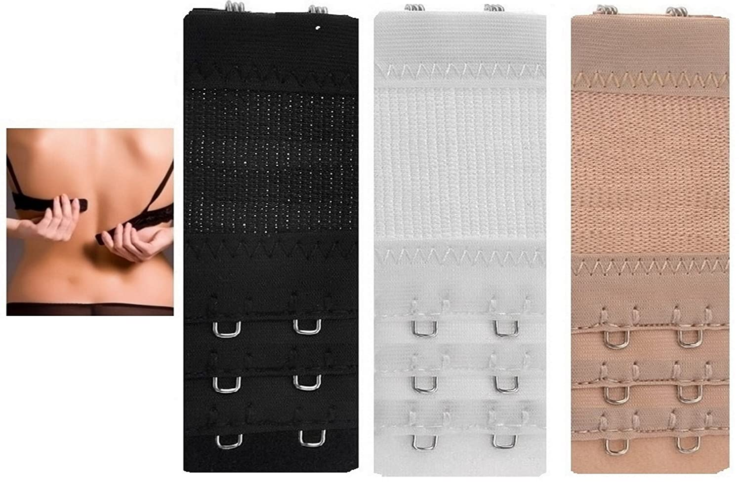 e082465e7ffec 3 Extenders Strap 3 x 2 Hooks Bra Extender Extension Strap in 3 Colours  (Black White Nude) 4cm  Amazon.co.uk  Computers   Accessories