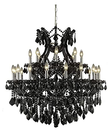 Maria theresa collection 24 light 36 black chandelier with jet maria theresa collection 24 light 36quot black chandelier with jet black royal cut crystal mozeypictures Images
