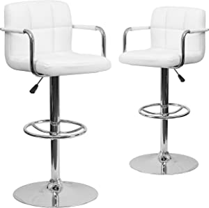Flash Furniture 2 Pk. Contemporary White Quilted Vinyl Adjustable Height Barstool with Arms and Chrome Base
