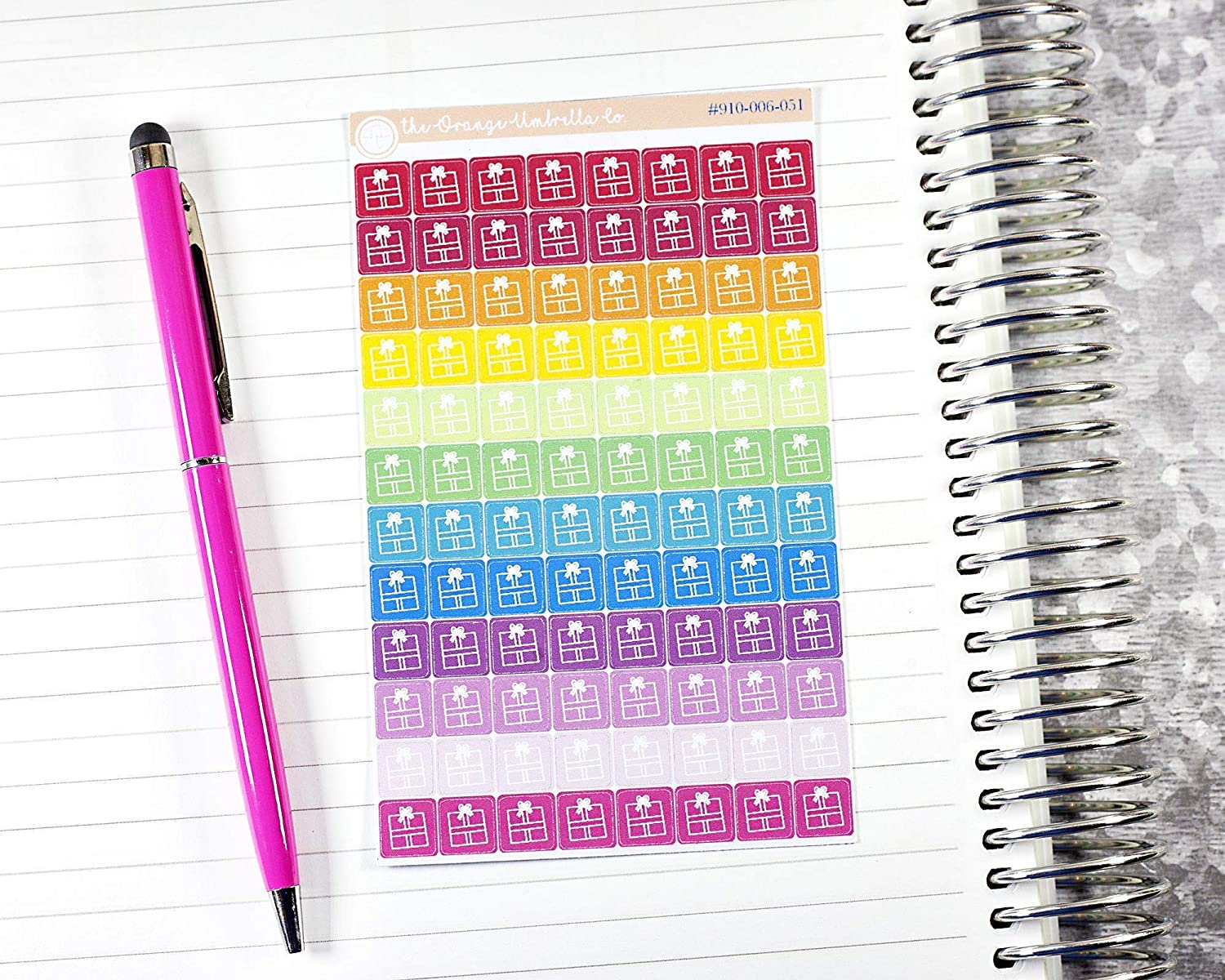 #910-006-051-WH Gift Icon Planner Stickers Gifting Tracking Planner Stickers Present Purchase Tracker Stickers