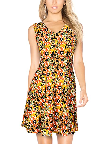 93afb421823b Elywish Women s Summer Casual Fit and Flare Sundress Floral Party Skater  Dress