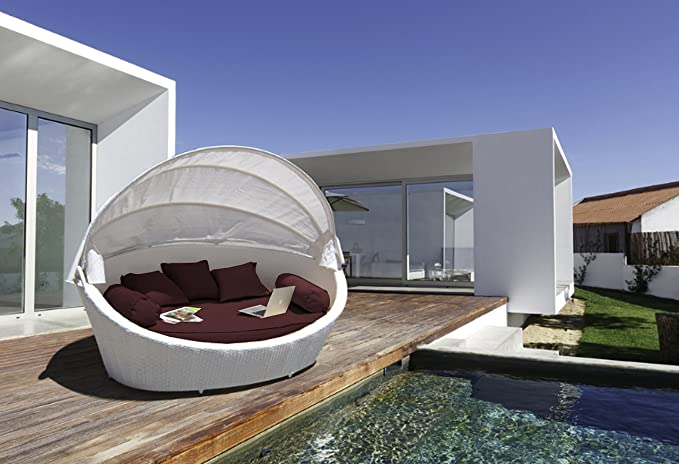 LuxuryGarden – Sofá redondo de ratán de jardín, chaise longue ...