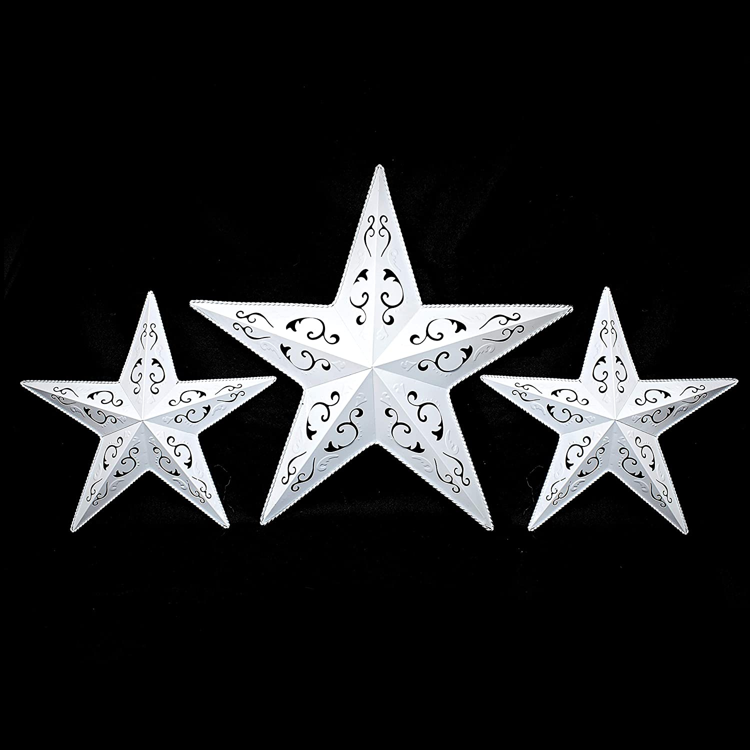 "WHITE LACY METAL BARN STAR SET - 2 x 12"" 1 x 18"" rustic cut out style country indoor outdoor Christmas home decor. Interior exterior lacey metal stars hanging decorations for house walls fence porch"