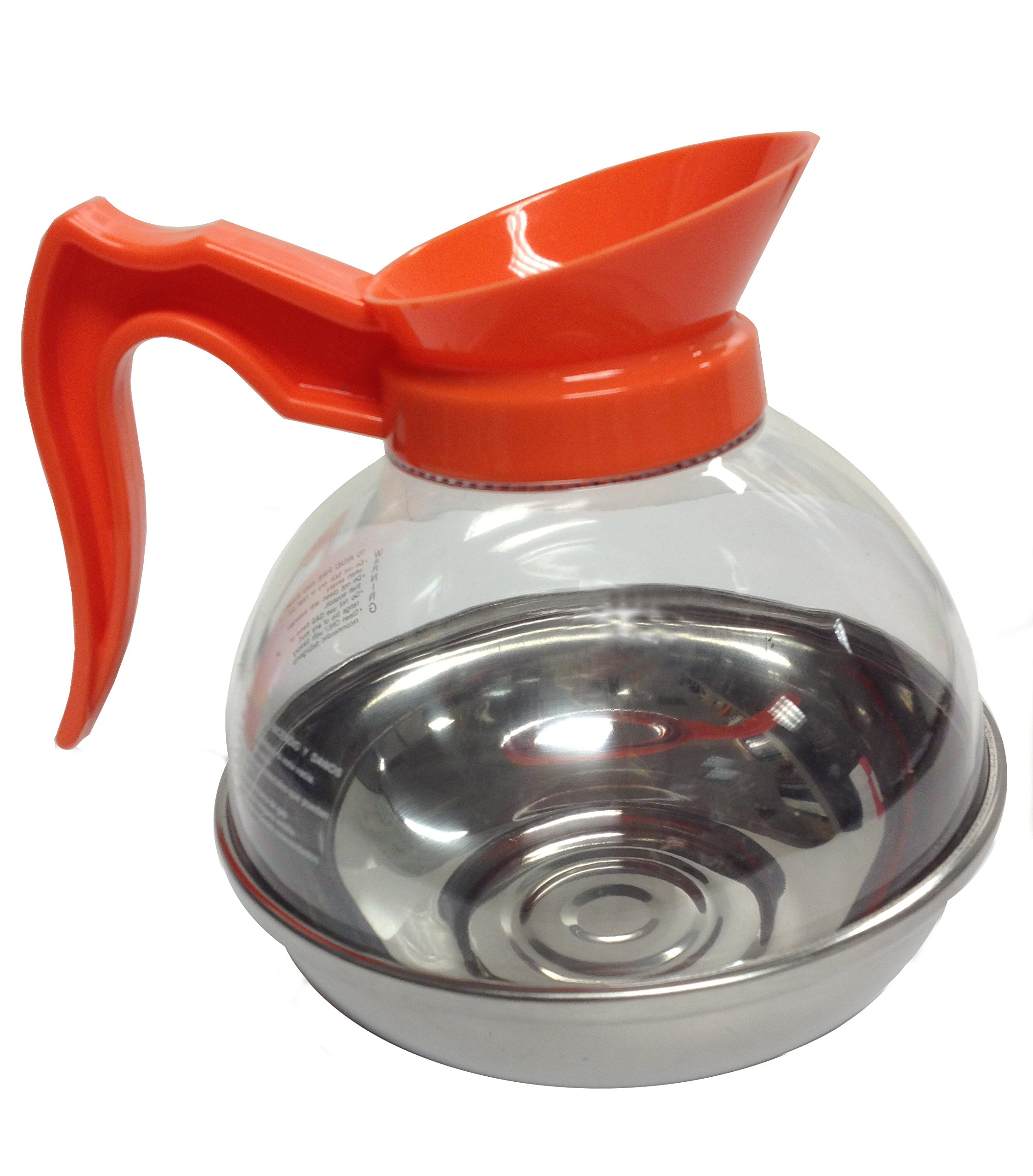 Bloomfield DCF8885O3 Decaf Unbreakable Decanter, Plastic with Stainless Steel Bottom, Orange Handle (Pack of 3)