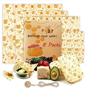 Beeswax Reusable Food Wraps 8 Packs Sustainable Organic Bees Wax Wrap Eco Friendly Plastic-Free for Food Storage, Zero Waste Sandwich Wrappers Bowl Covers (Beesflower)