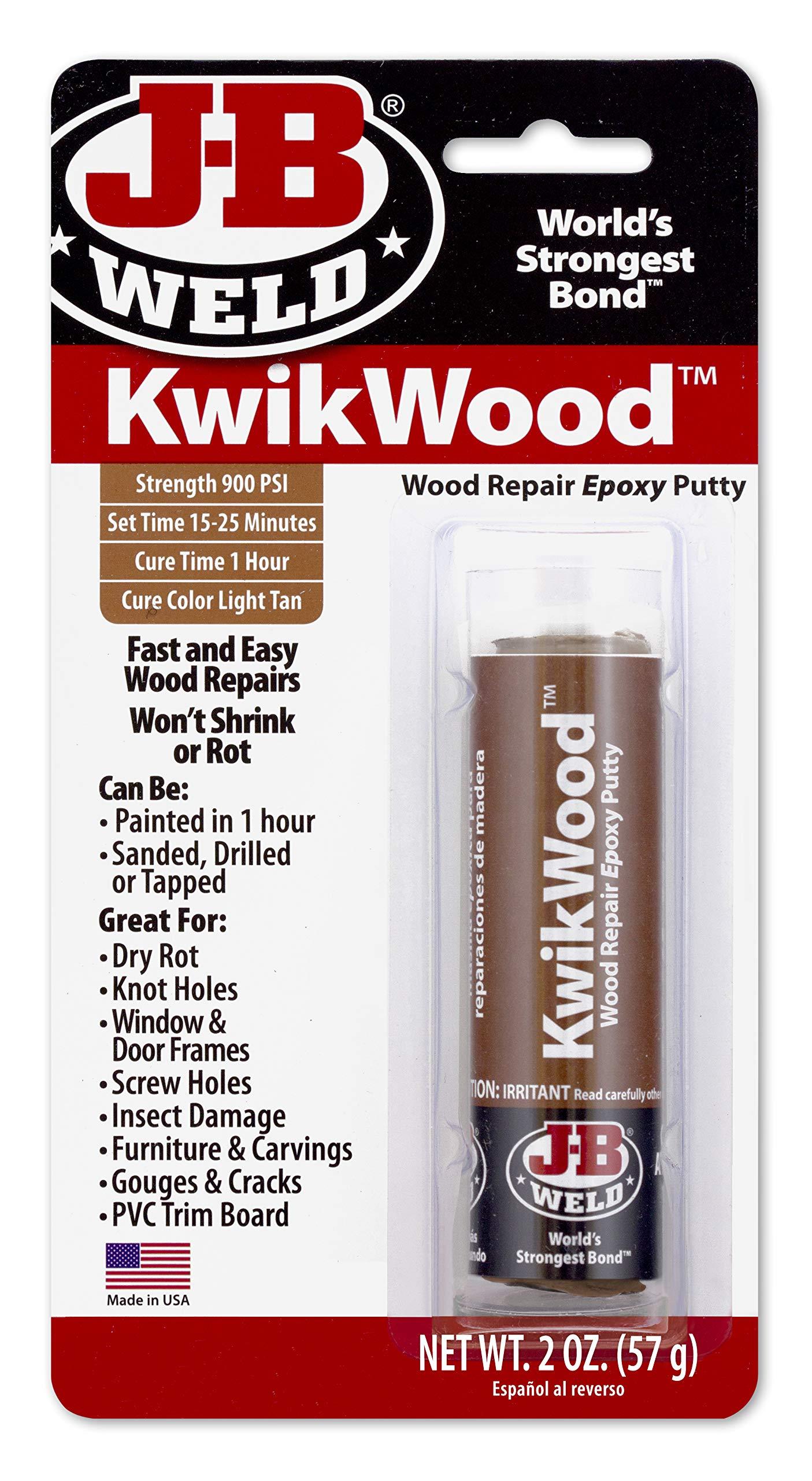 J-B Weld 8257 KwikWood Wood Repair Epoxy Putty Stick- 3.5 inch, Tan