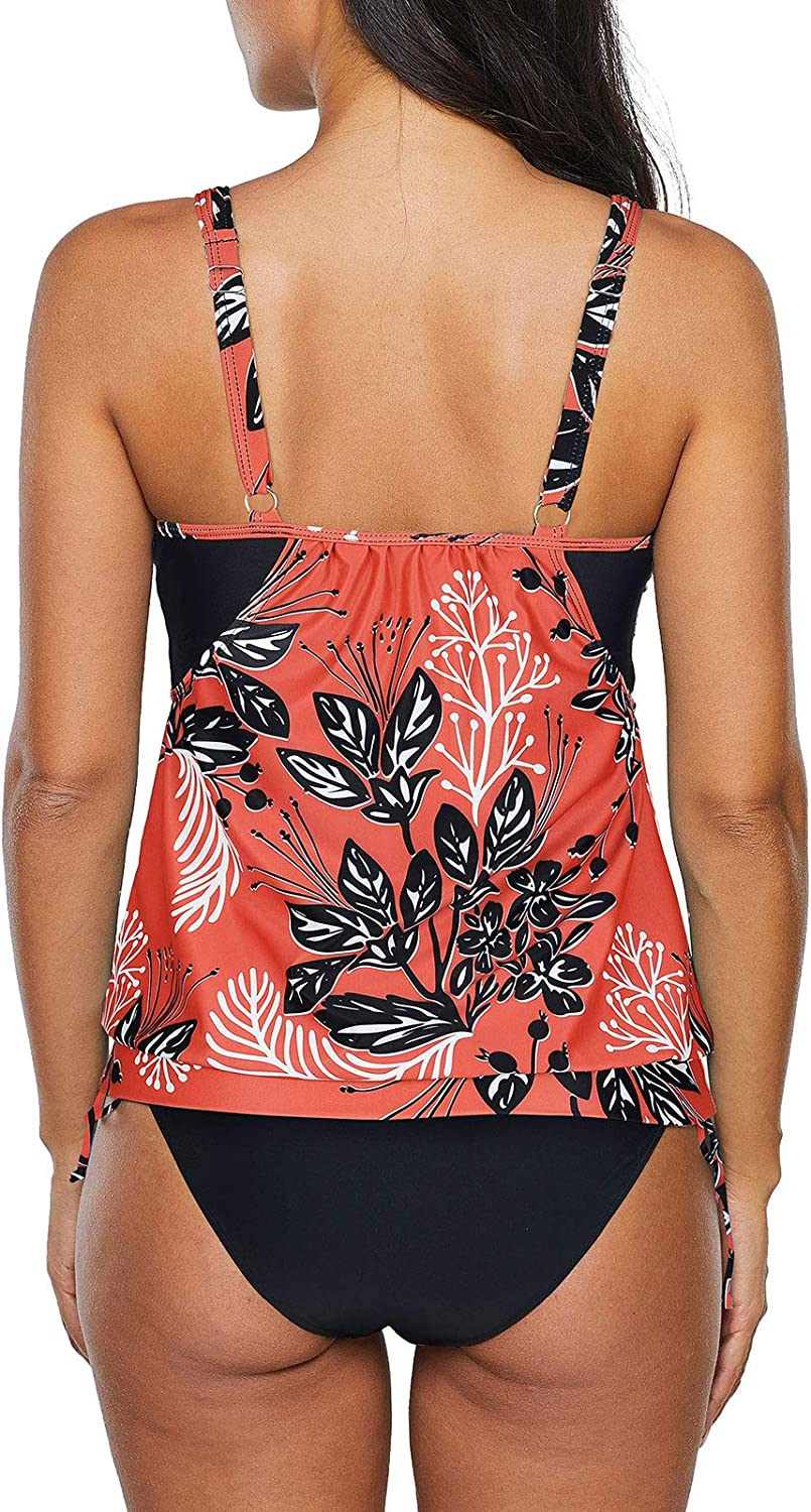 Century Star Womens Two Piece Tankini Swimsuit Floral Tank Top Bikinis Padded Swimwear with Boyshorts