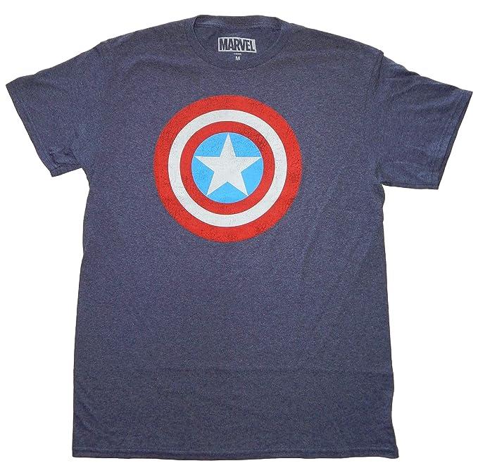 9a63417211fe Amazon.com: Marvel Captain America Shield Logo Men's Navy Heather T ...