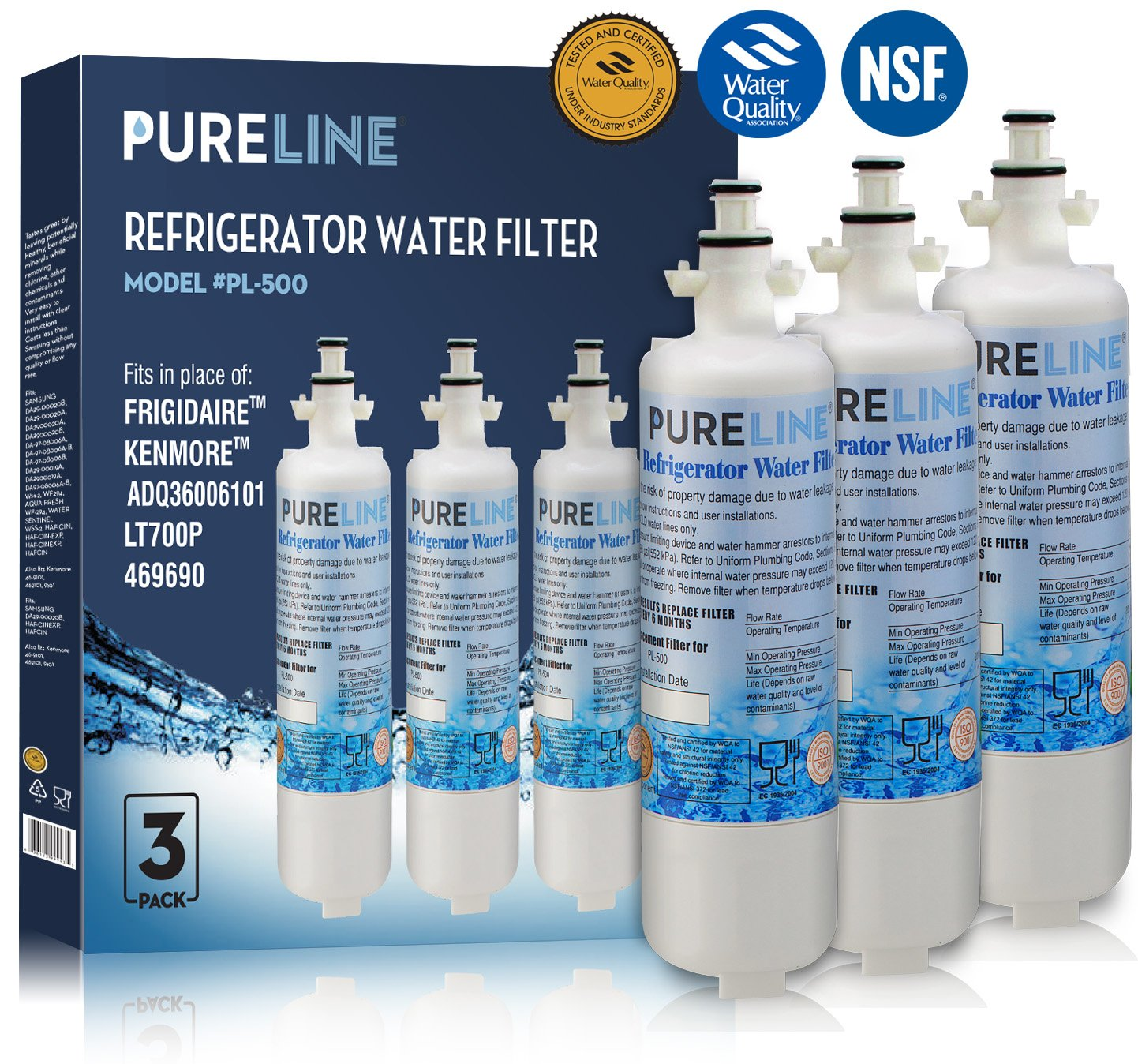 LG LT700P Refrigerator Water Filter, LG ADQ36006101 Compatible Water Filter, Kenmore 46-9690 (9690) Compatible Water Filter Replacement - Refrigerator - Also Fits WSL-3,WF700 (3 Pack)