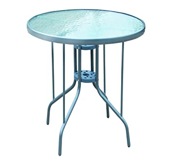 Mojawo Bistrotisch Glas/Metall Rund Ø 70 H70cm Silberfarben Balkontisch  Gartentisch Glastisch