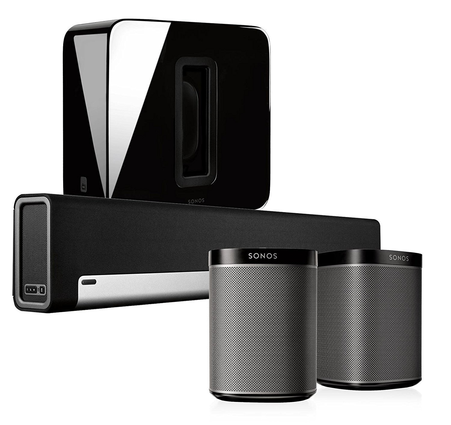 Sonos 5.1 Home Theater System with PLAY:1 (Pair), PLAYBAR, and SUB (Black)