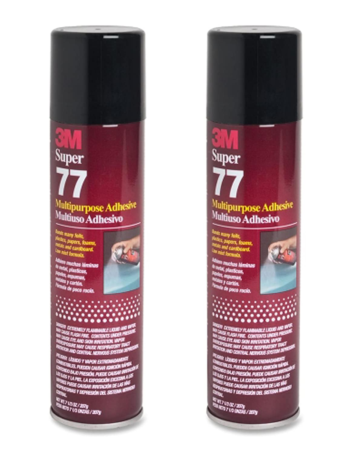 QTY2 3M SUPER 77 7.3OZ SPRAY GLUE ADHESIVE for FOIL PLASTIC PAPER FOAM METAL FABRIC