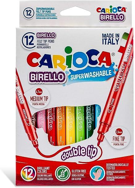 Caja de 12 rotuladores Birello de doble punta, fina y media, colores surtidos: Amazon.es: Oficina y papelería