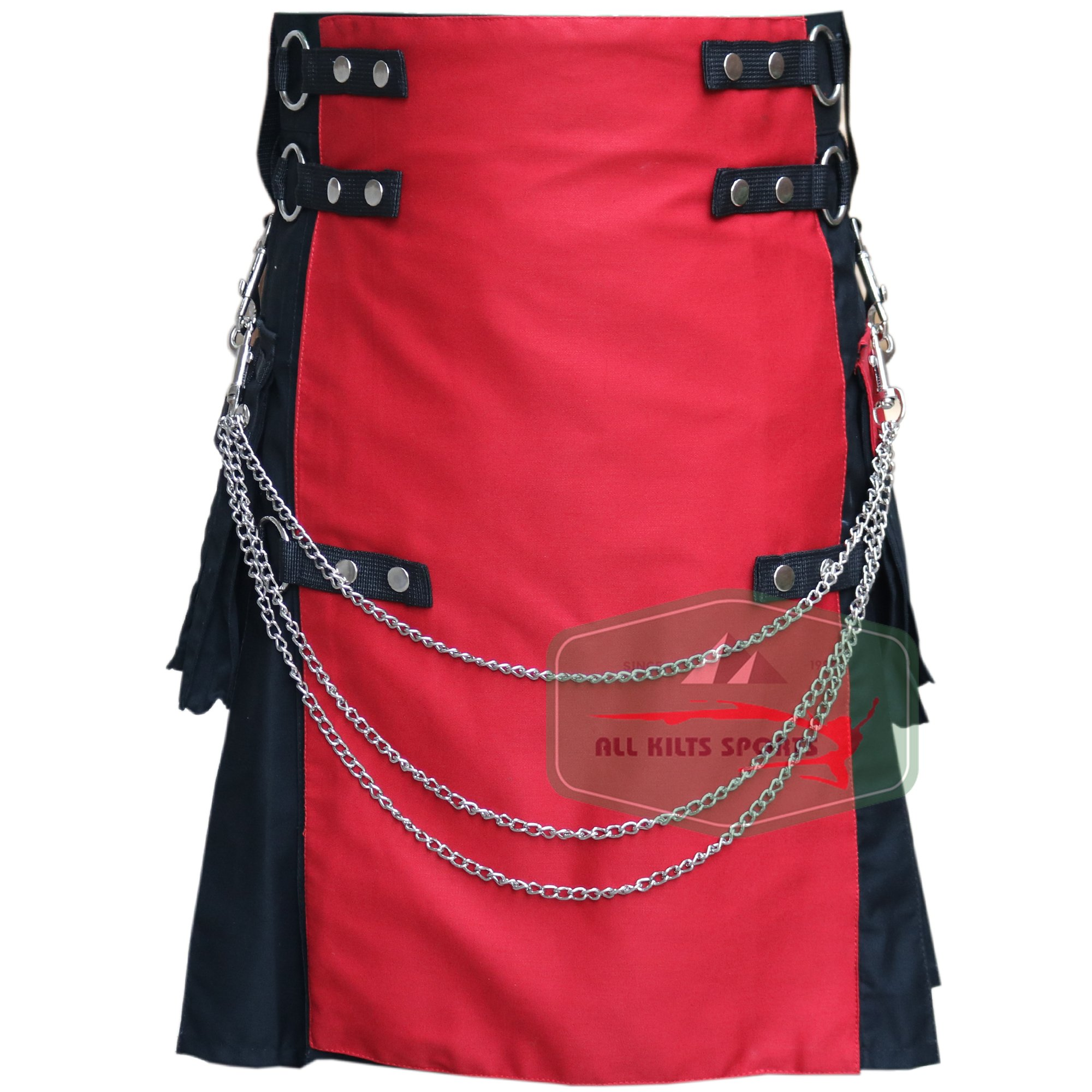 Black Fashion Wedding Ring Kilt With Red Front Apron - Utility Kilts (38'')