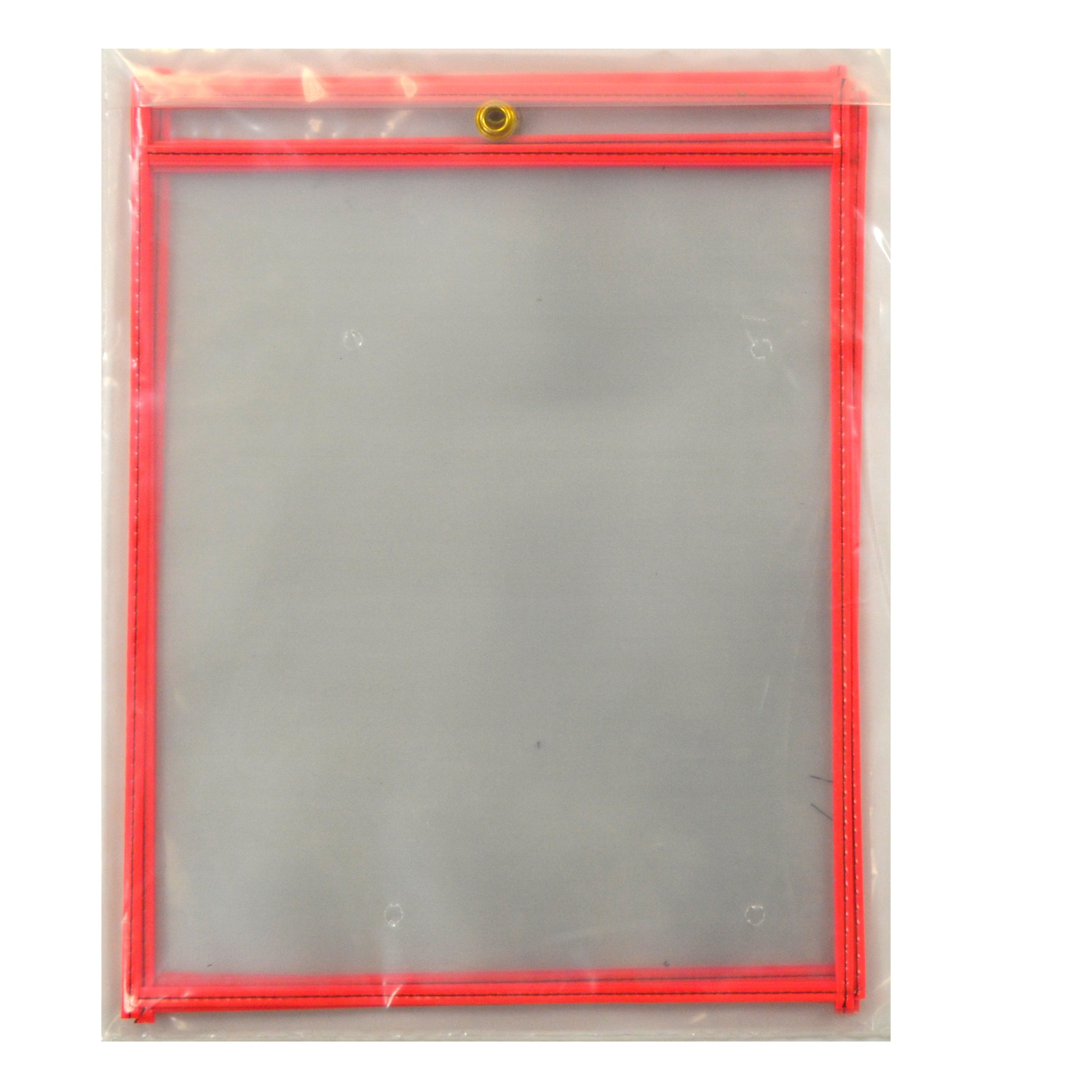 C-Line Stitched Shop Ticket Holders, Both Sides Clear, 8-1/2'' x 11'', 5 per Pack, Neon Red (40463)