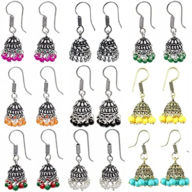 3d67c199f Buy The Trendy Trendz Elegent Small Oxidised German Silver Dangle Jhumki  Earring Sets For Women( Combo Pack Of Blue, Red, White And Green Color )  Online at ...