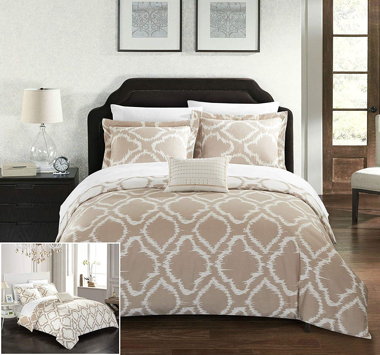 Chic Home 4 Piece Juniper Reversible Two-Tone Ikat Diamond Geometric Pattern Print Technique King Duvet Cover Set Beige