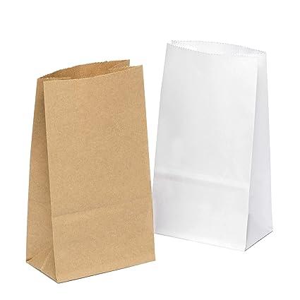 100 piezas Bolsas de Papel Regalo 9 x 16 x 5 cm - Bolsa Biodegradable Regalos Comunión para Invitados o para Guardar Comida, Semillas Flores, Dulces, ...