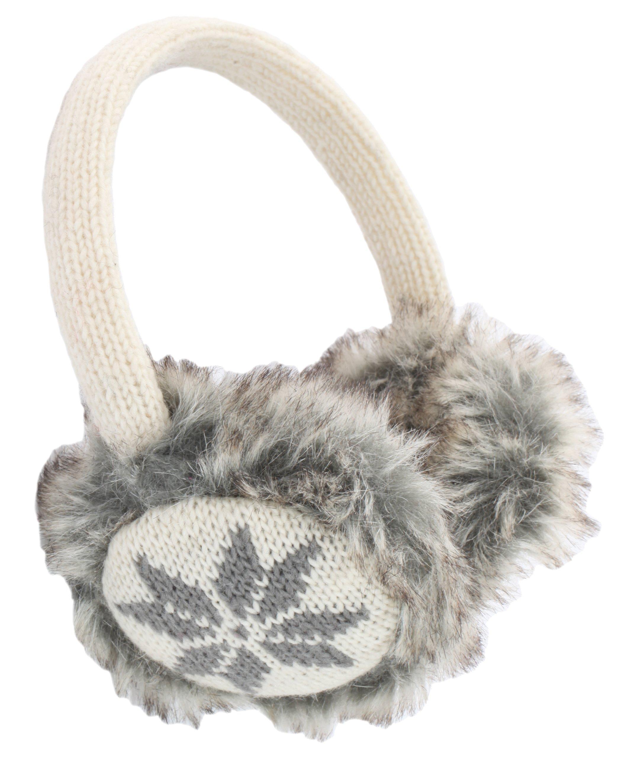 Nirvanna Designs EA02 Snowflake Earmuffs with Faux Fur, White
