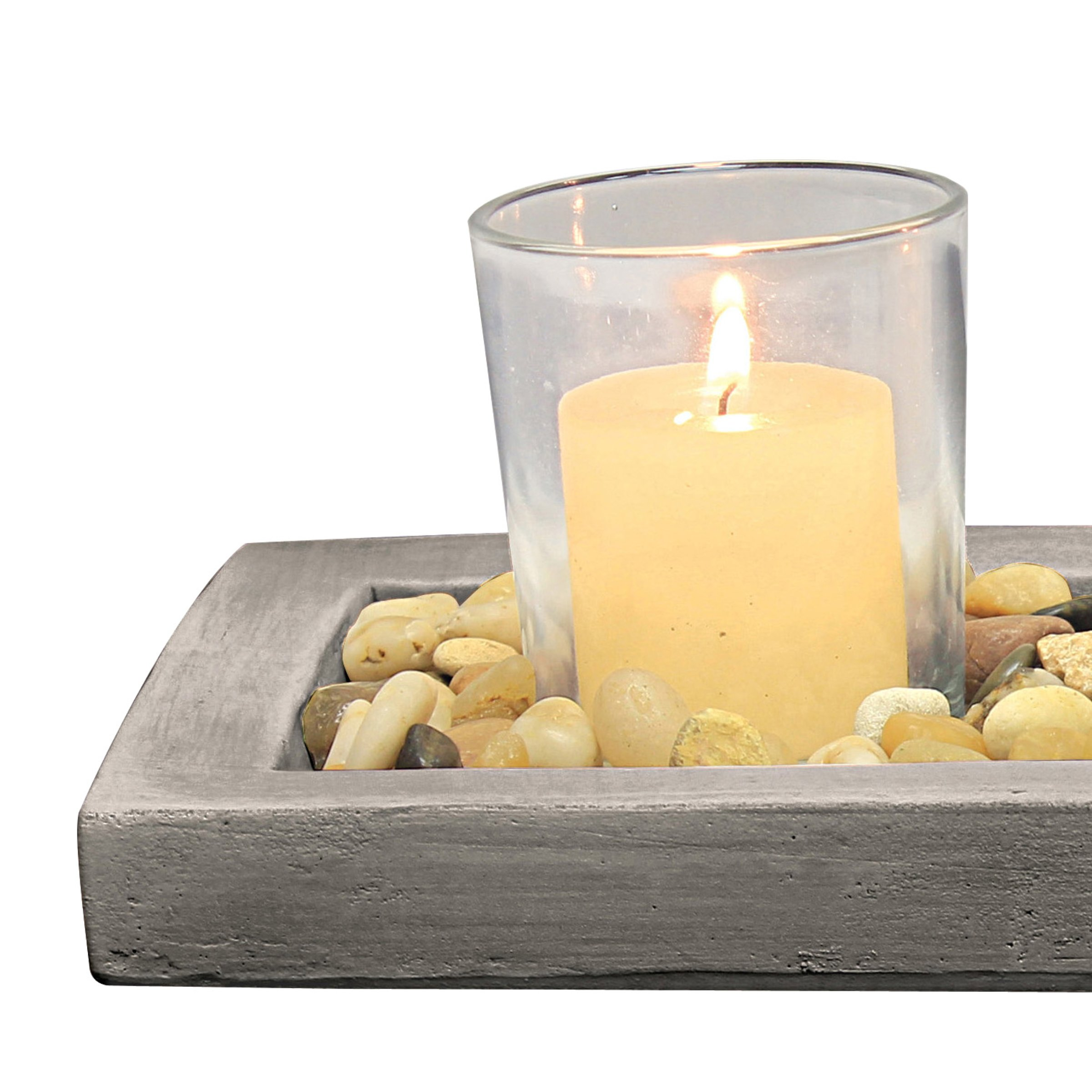 Briarwood Decorative Votive Tray with Rustic Cement Tray, Natural Pebbles, and 3 Clear Glass Votive Candle Holders, Unique Centerpiece for the Coffee Table, Dining Table, or Any Table Top by Briarwood (Image #2)