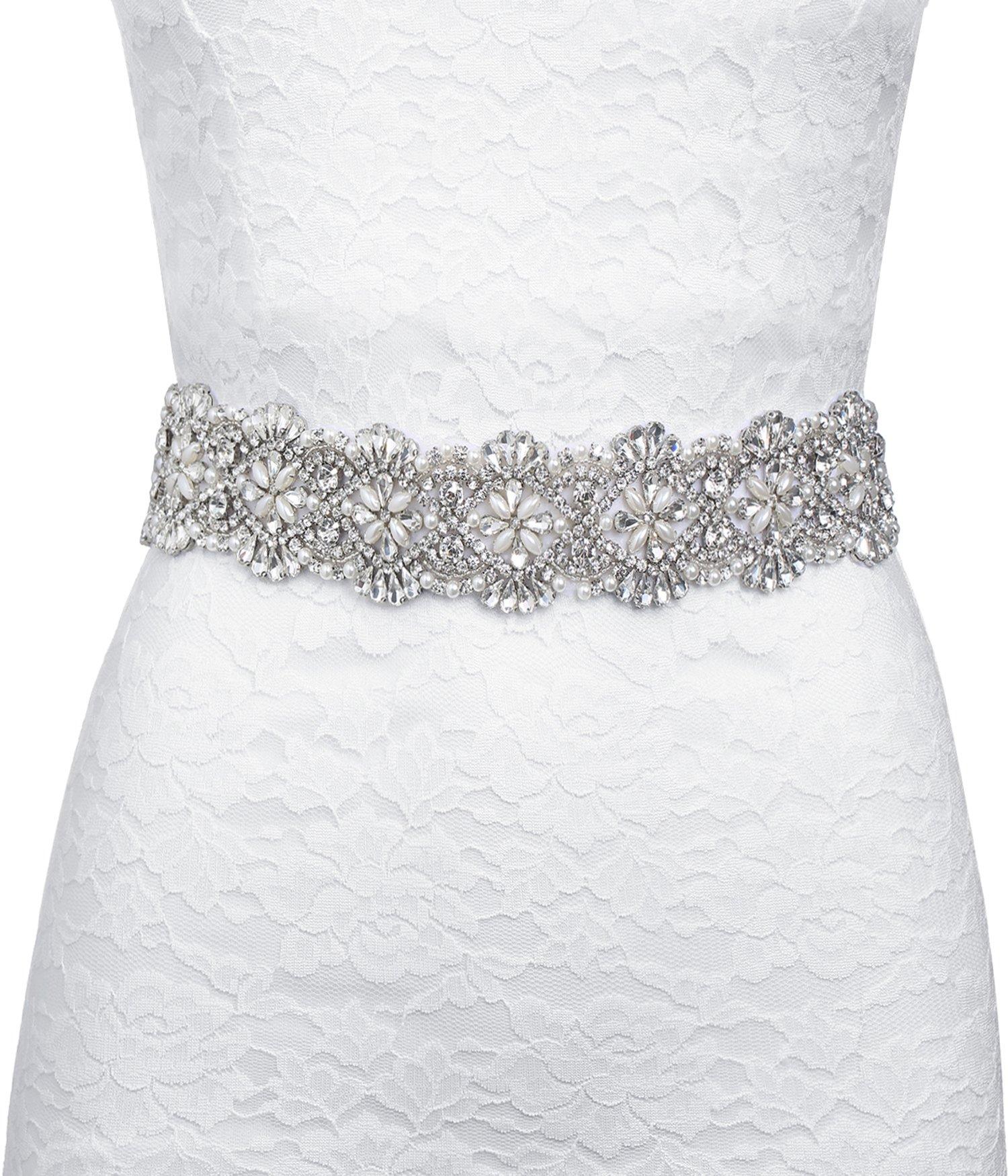 BABEYOND Wedding Sash Beaded Sash Belt Applique for Wedding Evening Dresses by BABEYOND